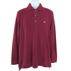 Southern Tide Polo Shirt Long Sleeve Red Burgundy